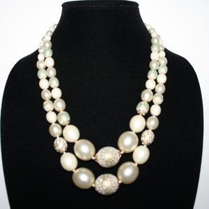 Beautiful pearl and gold chunky layered necklace